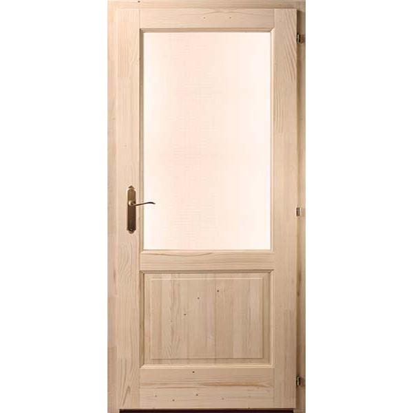 Kétbetétes egyenes fenyő beltéri ajtó 100x210 üvegezhető